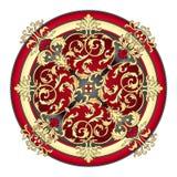 Rojo y vector del este del ornamento del oro ilustración del vector
