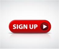 Rojos grandes ahora firman para arriba el botón Imagen de archivo