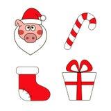 Rok świnia Set Bożenarodzeniowi wizerunki ilustracja wektor