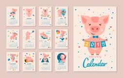 2019 rok ŚWINIOWATY kalendarz ilustracji