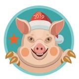 Rok świniowaty 2019 według Wschodniego horoskopu ilustracja wektor