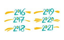 Rok 2016 2017 2018 2019 2020 2021 Obrazy Stock