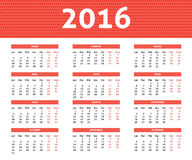 2016 rok caledar w Spanis w lekkim czerwonym kolorze Zdjęcie Stock