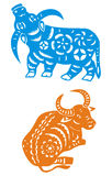 rok chiński wołowy zodiak royalty ilustracja
