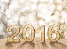 2016 rok drewna liczba w perspektywicznym pokoju z iskrzastym bokeh w Fotografia Stock