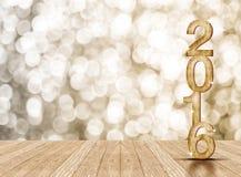 2016 rok drewna liczba w perspektywicznym pokoju z iskrzastym bokeh w Obraz Stock