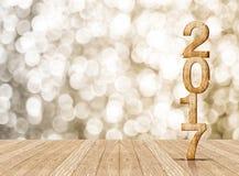 2017 rok drewna liczba w perspektywicznym pokoju z iskrzastym bokeh w Fotografia Royalty Free
