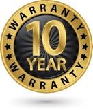10 rok gwaranci złota etykietka, wektorowa ilustracja Fotografia Royalty Free