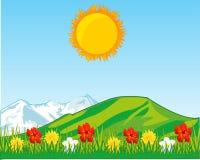 Rok halizna z kwiatem i górami na tylnym planie fotografia royalty free