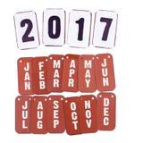 2017 rok i miesiąca kalendarz odizolowywający Fotografia Royalty Free