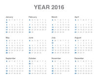 2016 rok kalendarz Zdjęcia Royalty Free