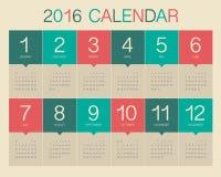 2016 rok kalendarz Zdjęcia Stock