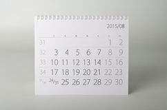 2015 rok kalendarz augusta Fotografia Royalty Free