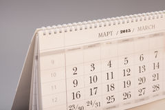 2015 rok kalendarz Marcowy kalendarz Fotografia Royalty Free