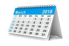 2018 rok kalendarz maszerujący Odosobniona 3d ilustracja ilustracji