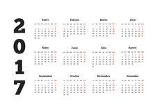 2017 rok kalendarz w hiszpańskim, odosobniony na bielu Obrazy Royalty Free