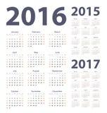2016, 2017, 2015 rok kalendarze Zdjęcie Royalty Free