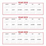 Rok 2018 2019 2020 kalendarzowy wektor Fotografia Stock