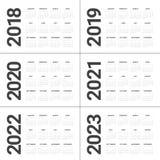 Rok 2018 2019 2020 2021 2022 2023 kalendarzowy wektor Obrazy Stock