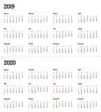 2019 2020 rok kalendarzowy - wektorowa ilustracja Tygodni początki na Niedziela Amerykański standard royalty ilustracja
