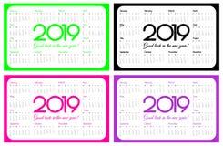 2019 rok kieszeni kalendarz Set cztery koloru: UFO zielenieje, klingeryt różowe i protonowe purpury projekt prosty Na Poniedziałe ilustracja wektor
