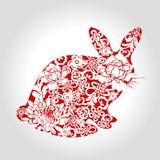 Rok królik, chiński styl, wektor, ilustracja Obrazy Stock