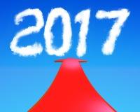 2017 rok kształt chmurnieje z czerwonym strzała 3D renderingiem Obrazy Royalty Free