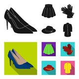 Rok met vouwen, leerhandschoenen, vrouwen` s hoed met een boog, overhemd op het bevestigingsmiddel Vastgestelde de inzamelingspic stock illustratie
