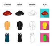 Rok met vouwen, leerhandschoenen, vrouwen` s hoed met een boog, overhemd op het bevestigingsmiddel Vastgestelde de inzamelingspic vector illustratie