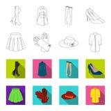 Rok met vouwen, leerhandschoenen, vrouwenhoed met een boog, overhemd op het bevestigingsmiddel Vrouwen die vastgestelde inzamelin stock illustratie