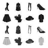 Rok met vouwen, leerhandschoenen, vrouwenhoed met een boog, overhemd op het bevestigingsmiddel Vrouwen die vastgestelde inzamelin royalty-vrije illustratie
