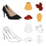 Rok met vouwen, leerhandschoenen, vrouwenhoed met een boog, overhemd op het bevestigingsmiddel Vrouwen die vastgestelde inzamelin vector illustratie