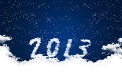 Rok 2013 na chmury tle. royalty ilustracja