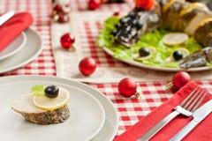 rok nowy kawałków szczupak faszerujący stołowy rok Fotografia Royalty Free