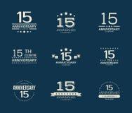 15 - rok odświętności rocznicowy logotyp 15th rocznicowy loga set Obraz Royalty Free