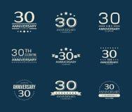 30 - rok odświętności rocznicowy logotyp 30th rocznicowy loga set Obrazy Stock