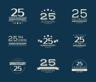 25 - rok odświętności rocznicowy logotyp 25th rocznicowy loga set Obraz Royalty Free