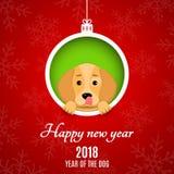 2018 rok pies Papierowi ścinki banner reklamy Bożenarodzeniowa piłka papier Kreskówek psi zerknięcia z dziury Biały tekst Obrazy Royalty Free