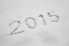 Rok 2015 pisać w śniegu Fotografia Royalty Free