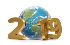 2019 rok planety światowa ziemia 3d-illustration ilustracja wektor