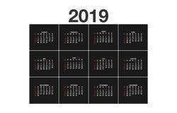 2019 rok prosty kalendarz na niemieckim języku na ciemnym tle, a4 pionowo prześcieradło ilustracji