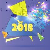 Rok psi 2018 Abstrakcjonistyczny czworobok który łama w małych kawałki, Abstrakcjonistyczny nowożytny geometrical projekt z Obraz Stock