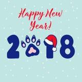 Rok psi 2018 Wektorowy szablonu nowego roku ` s projekt na Chińskim kalendarzu Ilustracja Wektor