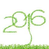 2016 rok robić od pięknych świeżych zieleń liści odizolowywa na whit Fotografia Royalty Free