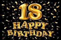 18 rok rocznic, wszystkiego najlepszego z okazji urodzin radości świętowanie 3d ilustracja z genialnymi złoto balonami & zachwytó Zdjęcia Stock