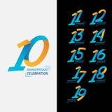 10 rok Rocznicowego świętowania szablonu projekta Ustalona Wektorowa ilustracja ilustracja wektor