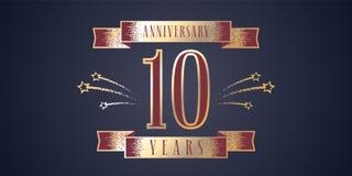 10 rok rocznicowego świętowania wektorowej ikony, logo Obraz Stock