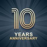 10 rok rocznicowego świętowania wektorowej ikony, logo Zdjęcia Royalty Free