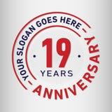 19 rok Rocznicowego świętowanie projekta szablonu Rocznicowy wektor i ilustracja Dziewiętnaście rok logo ilustracja wektor