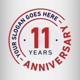11 rok Rocznicowego świętowanie projekta szablonu Rocznicowy wektor i ilustracja Jedenaście rok logo royalty ilustracja